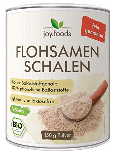 joy.foods Bio Flohsamenschalenpulver, fein gemahlen, ballaststoffreich, 150 g