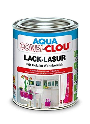 6x375 ml AQUA COMBI-CLOU Lack-Lasur Seidenmatt blau Innen 2,25 Liter