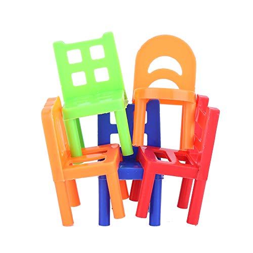 18PCS Stack Up Chairs Tower, Kinder Balance Stacking Stühle Balancing Game Toy...