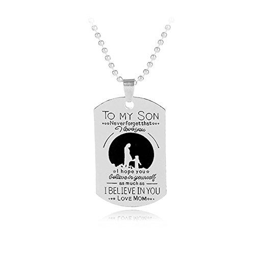 Zu meinem Sohn Liebe Mama Buchstaben geschnitzt Hund Tag Anhänger Halskette...