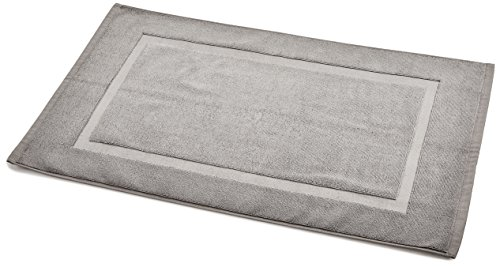 AmazonBasics Badvorleger mit rechteckiger Bordüre, Grau, 100% Baumwolle (1.200...