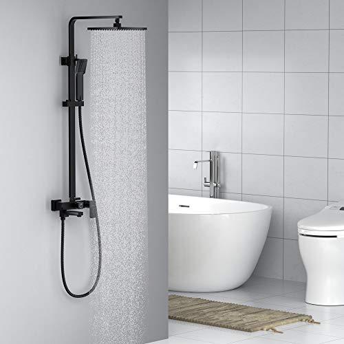 Auralum 3-Funktion Schwarz Duschsystem Regendusche mit Wasserhahn Duscharmatur...