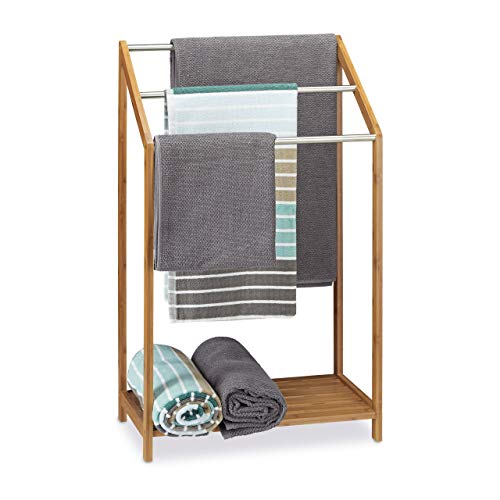 Relaxdays Handtuchhalter Bambus, 3 Handtuchstangen, Freistehend, Ablage, modern,...