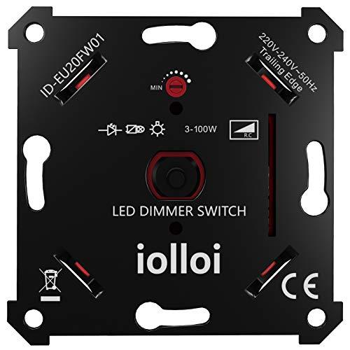 iolloi LED-Dimmer-Schalter, Unterputz Drehdimmer für Dimmbare LEDs und Halogen...