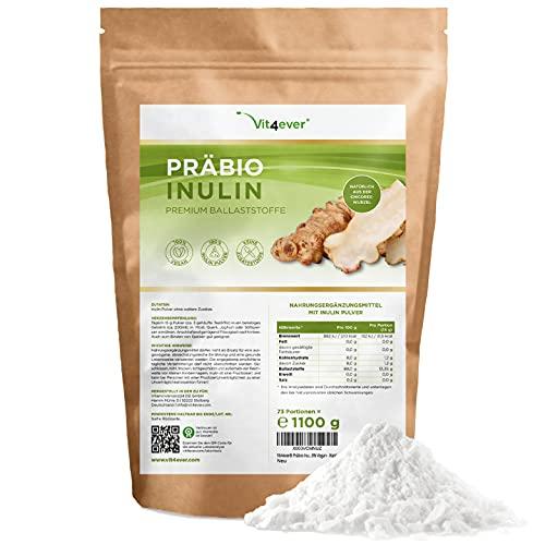 Präbio Inulin Pulver - 1100 g (1,1 kg) - Hoher Ballaststoffgehalt -...