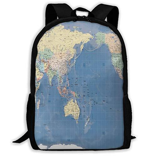 NA Rucksack für Mädchen Jungen Weltkarte Japan Relief Gall Map Reißverschluss...