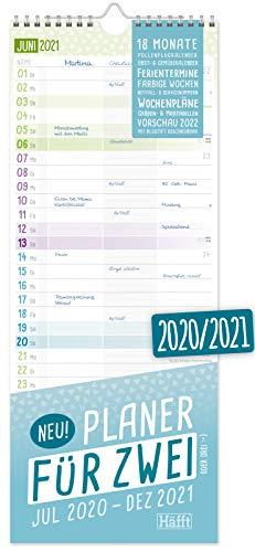Planer für Zwei 2020/2021 Paarkalender mit 3 Spalten   Wandkalender für 18...