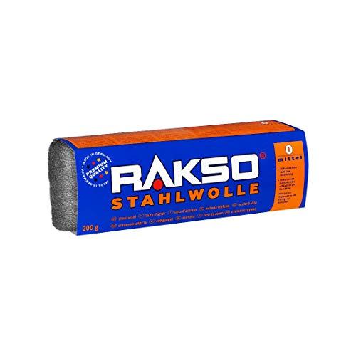 RAKSO Stahlwolle Banderole 200g mittel 0 glättet Holz, entfernt Schmutz auf...