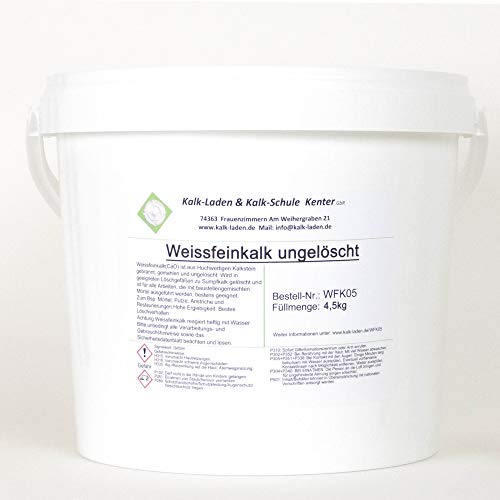 Weissfeinkalk. Gebrannter+gemahlener Kalk (Pulver-Kalk) höchstreaktiv im 4,5kg-...