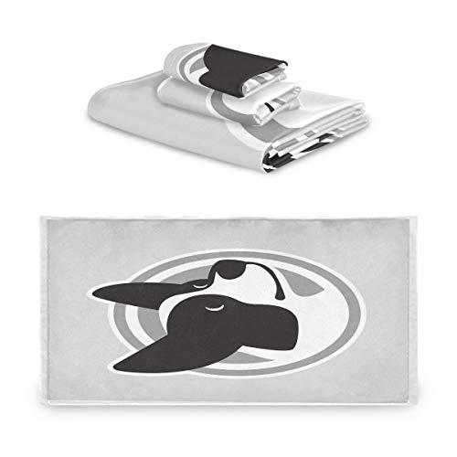 Mnsruu 3-teiliges Handtuch-Set, handgezeichnetes Hunde-Handtuch, weiches...
