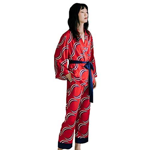 AXIANQIPJS Damen Sommer 100% Seide Satin Sexy Schlafanzüge Print Pyjamas Sets...