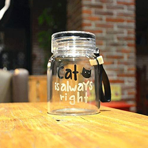 ouying1418 Wasserflaschen aus Glas 10 oz Creative Cute Cat Portable Water Cup