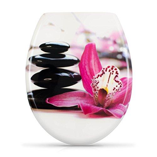 WC Sitz mit Absenkautomatik -'Zen Orchidee' Design - Duroplast Toilettendeckel...