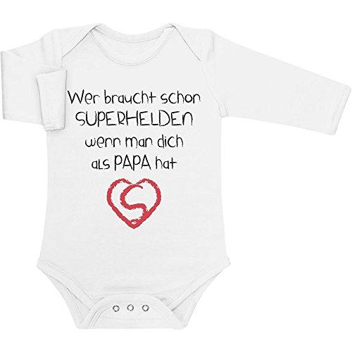 Shirtgeil Wer Braucht SUPERHELDEN Wenn Man Dich Als Papa Hat Baby Langarm Body...