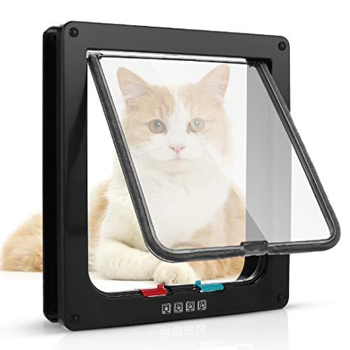 Sailnovo Katzenklappe XL Hundeklappe 4 Wege Magnet-Verschluss für Katzen, Klein...