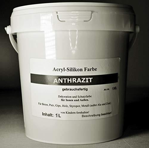 Anthrazit - Beton Farbe - Acryl Silikon 1 Liter
