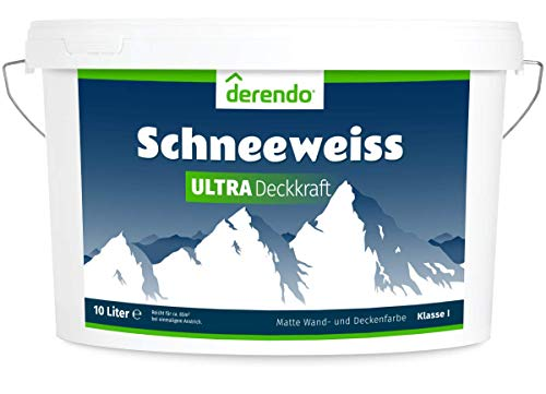 Derendo Schneeweiss Ultra - höchste Deckkraft und Weißgrad - 10l Wandfarbe...