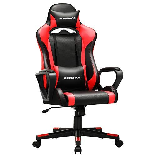 SONGMICS Gaming Stuhl, Schreibtischstuhl, Computerstuhl, Bürostuhl, abnehmbare...
