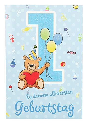 Depesche 5698.001 Glückwunschkarte mit Musik, 1. Geburtstag, blau