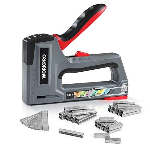 WORKPRO Handtacker Set,6 in 1 Leistungsstarker Werkzeugtacker für Klammer typ...