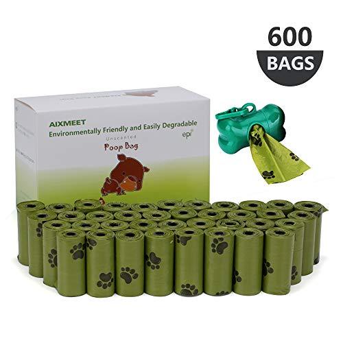 AIXMEET Hundekotbeutel Biologisch Abbaubar mit Beutelspender, 600 Kotbeutel für...
