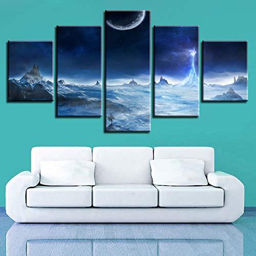 KDSFHLL 5 Dekorative Gemälde Hd Druck 5 Stück Mond Mountainbike Stern...