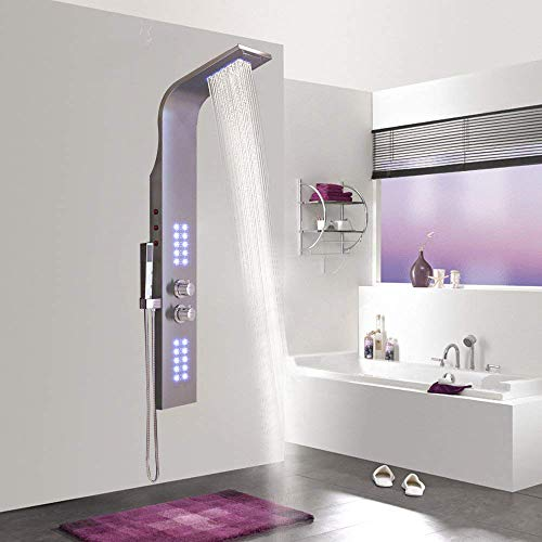 AUFUN Duschpaneel Edelstahl mit LED Thermostat 30° - 50° Duschsäule mit...