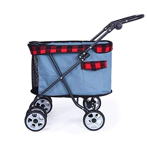 GXWLWXBB 4 Räder Haustier Kinderwagen, justierbare 4 Wheel Pet Stroller Wagen,...