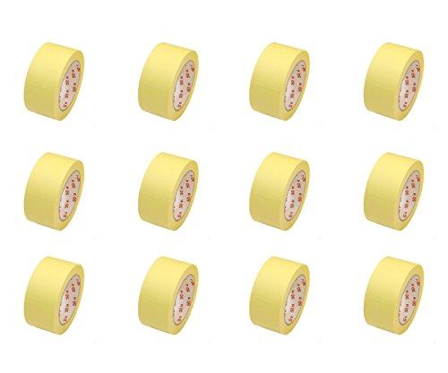 12 Rollen Flachkrepp Abklebeband Malerkrepp Malerband 50mm x 50m bis 60°C (EUR...