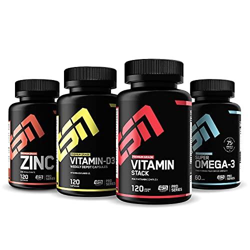ESN 4er Pack Vitamine & Vitalstoffe – 4 natürliche Vitaminpräparate mit...