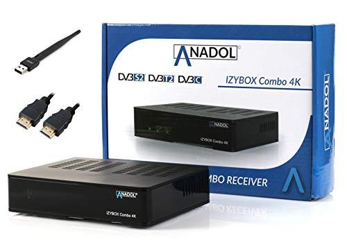 ANADOL IZYBOX Combo 4K Sat-Receiver, Kabel-Receiver & DVB-T2-Receiver, DVB-S2X...