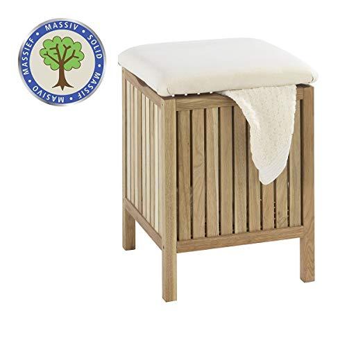 WENKO Badhocker Norway mit Wäschesammler, aufklappbare Sitzfläche als Deckel,...