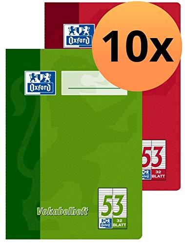 Oxford Schule Vokabelheft A6, mit 2 Spalten, 32 Blatt, sortiert rot und grün,...