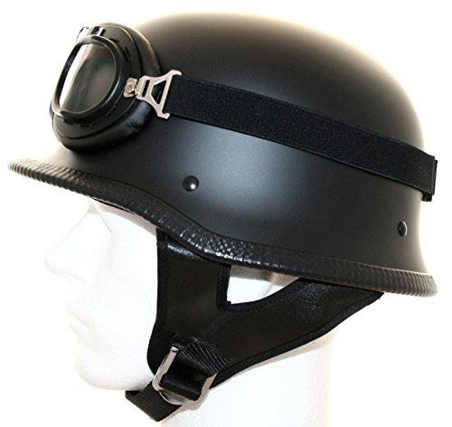 ATO Moto Motorradhelm halbschale Stahlhelm Oldtimer helm Brille Schwarz matt...