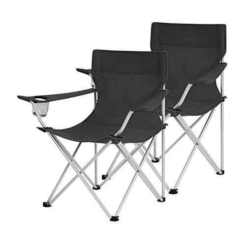 SONGMICS Campingstühle, 2er Set, Klappstühle, Outdoor-Stühle mit Armlehnen...