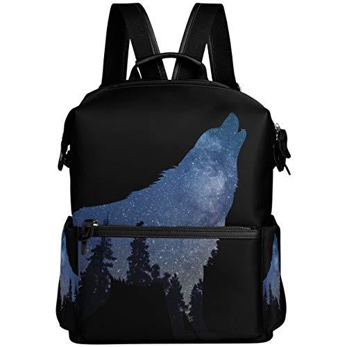 Oarencol Galaxy Wolf Forest Fantasy Rucksack Space Funny Animal School Book Bag...
