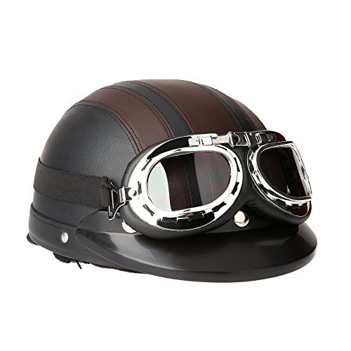 KKmoon Motorrad Roller Open Face Halbes Leder-Helm Winter Winddichter Helm mit...