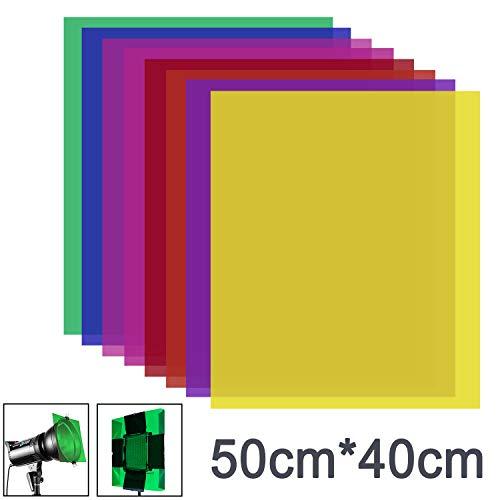 Neewer 8 Stück Gel Farbfilter mit 8 Farben -16x20 Zoll transparenter Farbfilm...