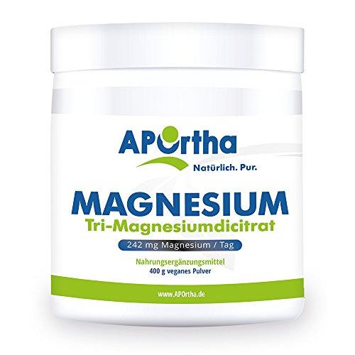 APOrtha Magnesium Citrat 400g veganes Pulver wasserfrei I...