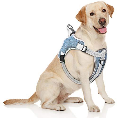 TAMOWA Hundegeschirr, Einstellbare Anti Zug Geschirr Reflektierend Atmungsaktiv...
