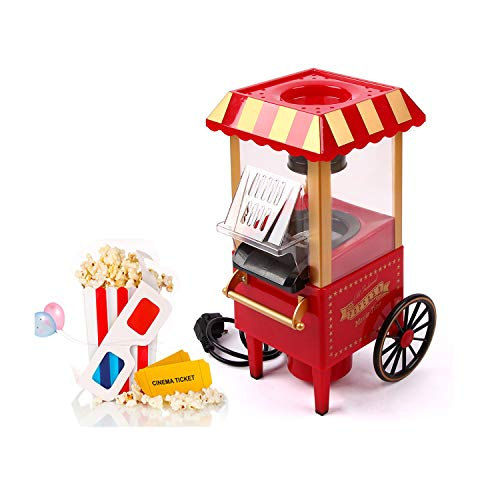 UFLIZOGH Popcorn Maschine 1200W Retro Popcorn Maker Heissluft ohne Öl/fettarm...