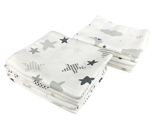 10x Spucktücher Mullwindeln Baby Baumwolle 80x70 cm | ÖKO-TEX (Wolken &...