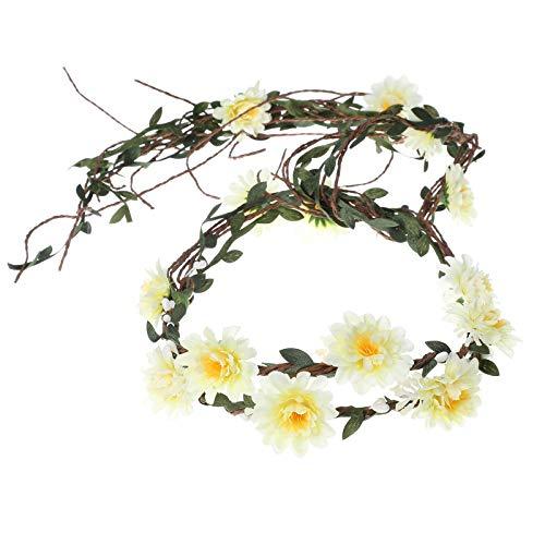 AWAYTR Boho Braut Blume Girlande Stirnband - Frauen Mädchen Einstellbare Baum...