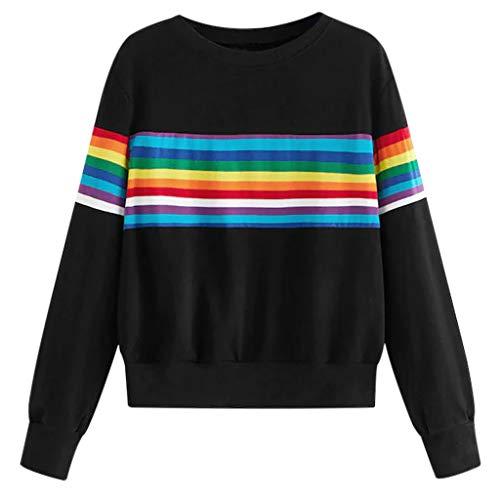 Evansamp Fashion Damen Langarm-Pullover, bunt gestreift, Patchwork-Bluse für...