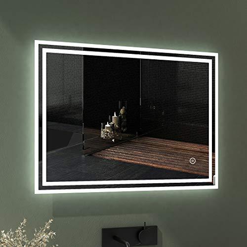 EMKE LED Badspiegel 80x60cm Badspiegel mit Beleuchtung kaltweiß Lichtspiegel...