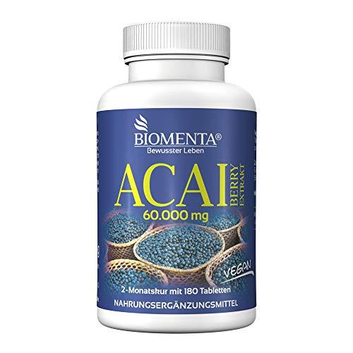 BIOMENTA Acai Beeren 60.000 mg - 180 Acai Tabletten - 2 Monatskur – vegan