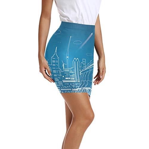 Montoj Bleistiftrock für Damen, hohe Taille, figurbetont -  mehrfarbig -  Klein