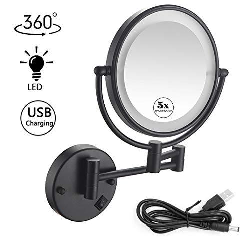 MSCHEN Kosmetikspiegel Wandmontage LED Beleuchtet mit 1x/ 5xFach Vergrößerung...