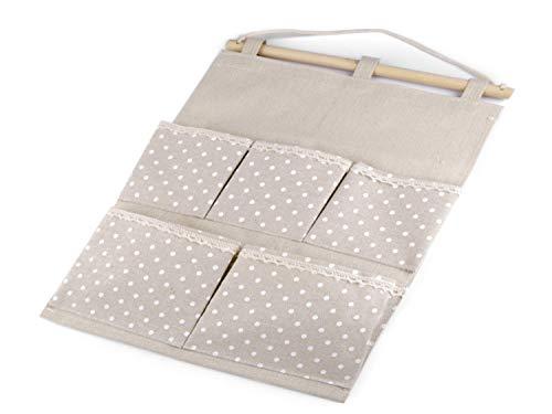 kennydoo Hängeorganizer 5 Taschen Vintage Leinen mit Punkten I...