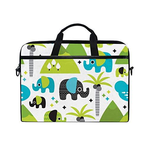LOSNINA Laptop Tasche 15-15.4 Zoll,Kinderelefantenwaldland Mit Palme,Neue...
